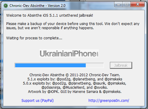 5 [F.A.Q.] Как сделать непривязанный джейлбрейк iOS 5.1.1 с помощью Absinthe2.0 (Windows)