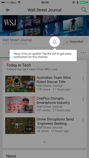 YouTube for ios update