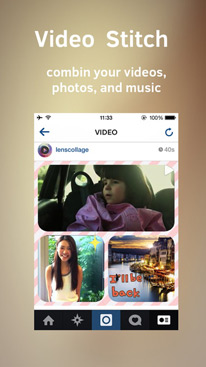 Clip Stitch 2 Video Collage Maker for Instagram Vine & Youtube